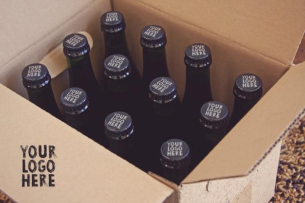 Maquete de caixas e tampas de cerveja