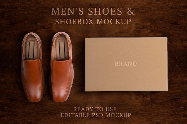 Maquete de calçados masculinos de couro psd com caixa de papel moda empresarial