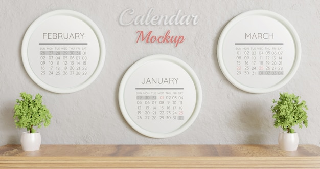 Maquete de calendário de círculo branco três na parede