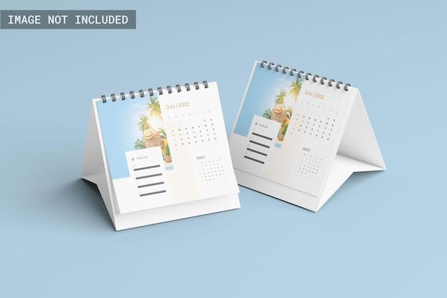 Maquete de calendário de duas mesas