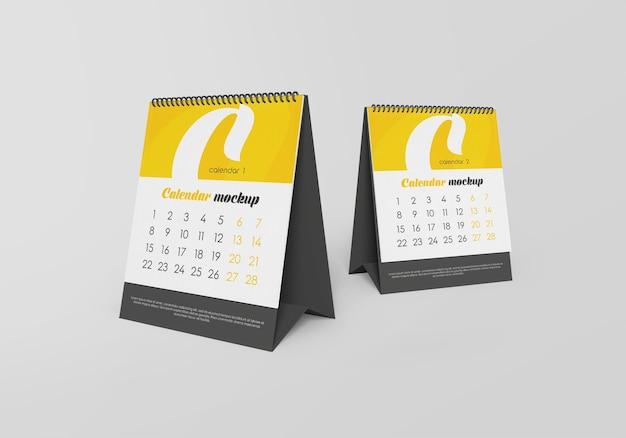 Maquete de calendário de mesa em espiral isolada
