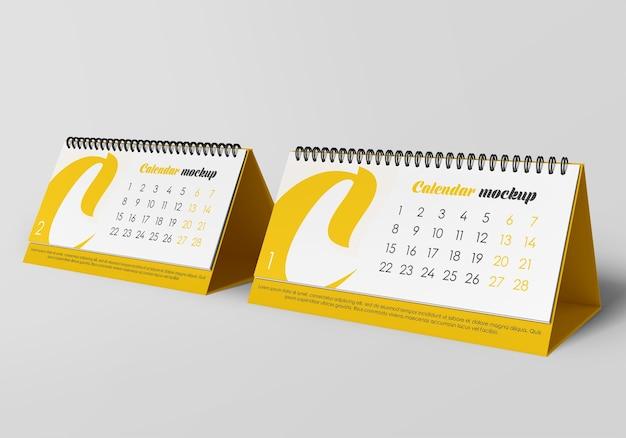Maquete de calendário de mesa em espiral