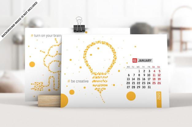Maquete de calendário de mesa gorizontal