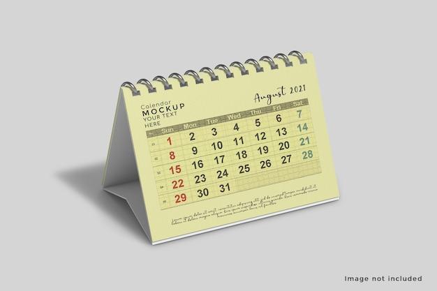 Maquete de calendário de mesa horizontal em alto ângulo