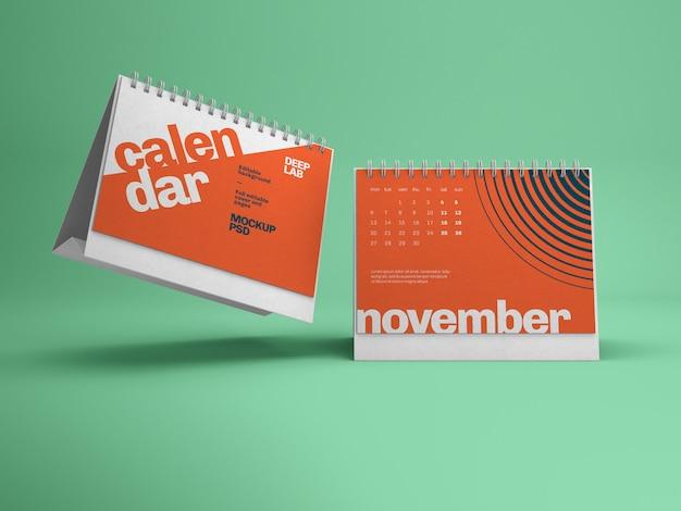 Maquete de calendário de mesa horizontal