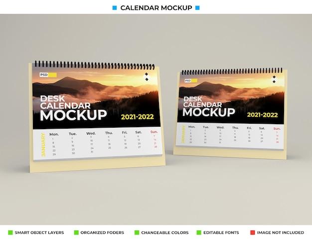 Maquete de calendário de mesa isolada