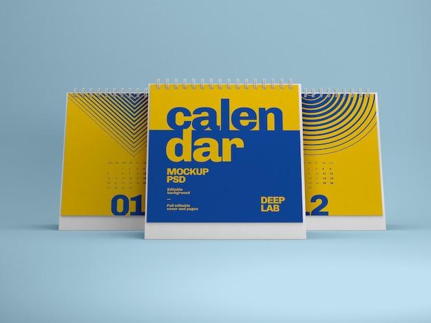 Maquete de calendário de mesa quadrada