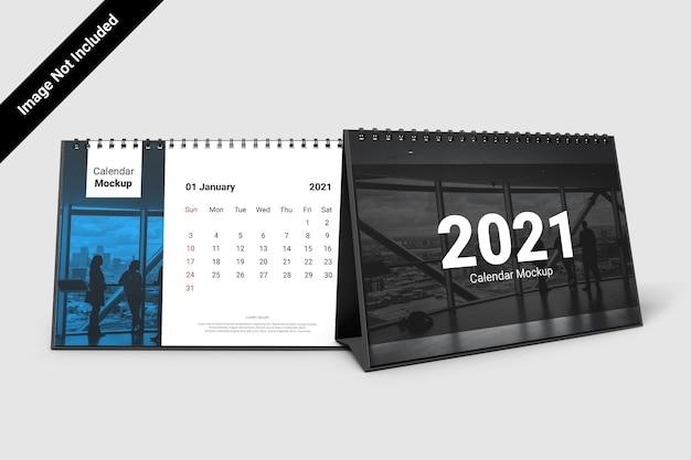 Maquete de calendário de paisagem com espiral