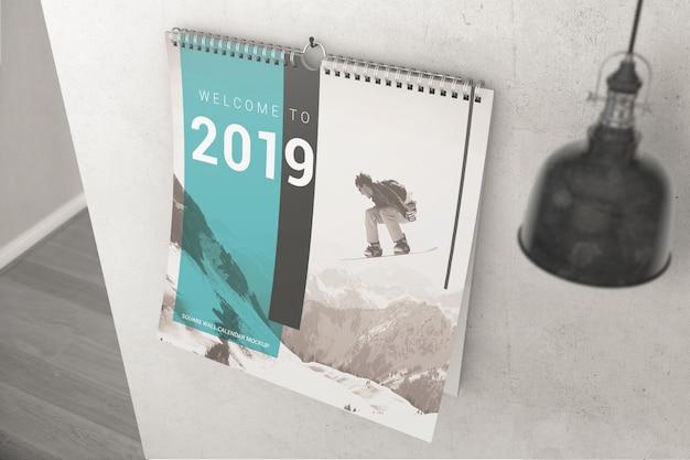 Maquete de calendário de parede com anel