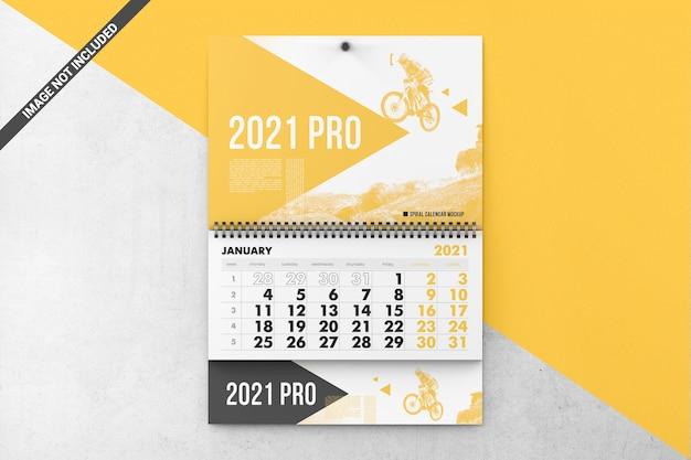 Maquete de calendário de parede em espiral
