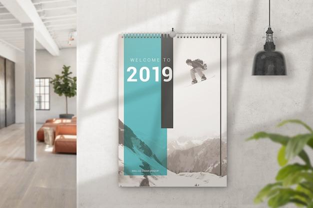 Maquete de calendário de parede interior