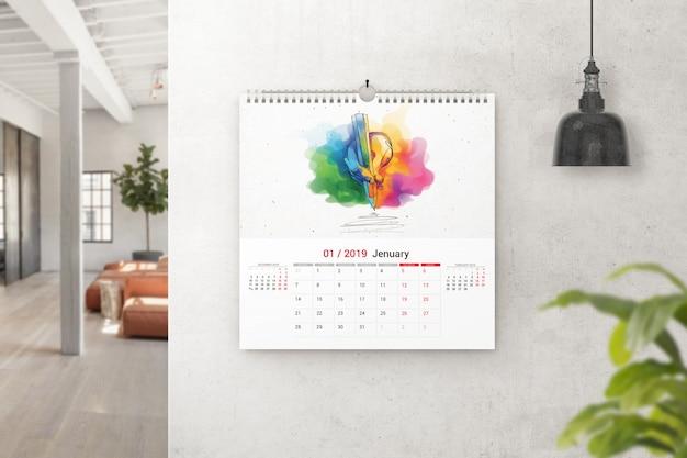 Maquete de calendário de parede quadrada