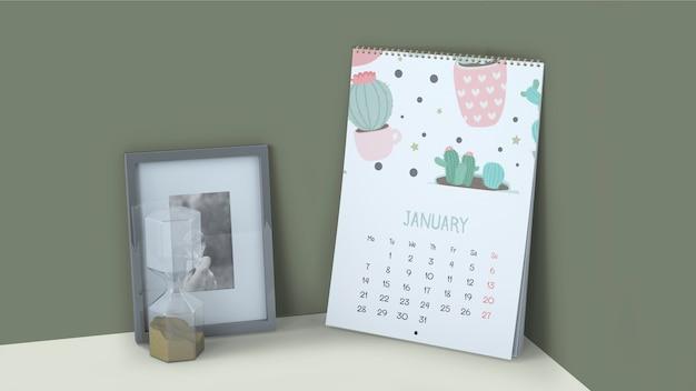 Maquete de calendário decorativo no canto