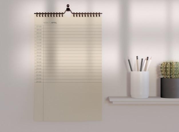 Maquete de calendário decorativo