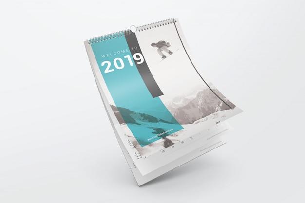 Maquete de calendário dobrado voador