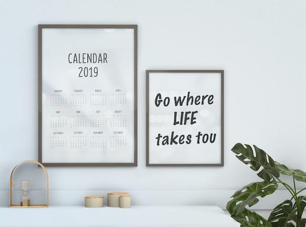 Maquete de calendário emoldurado motivacional