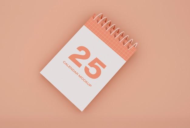 Maquete de calendário espiral dia