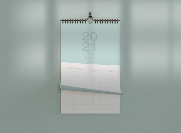 Maquete de calendário espiral minimalista