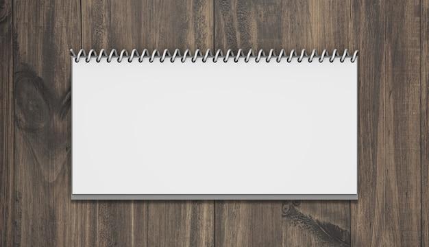 Maquete de calendário horizontal com madeira