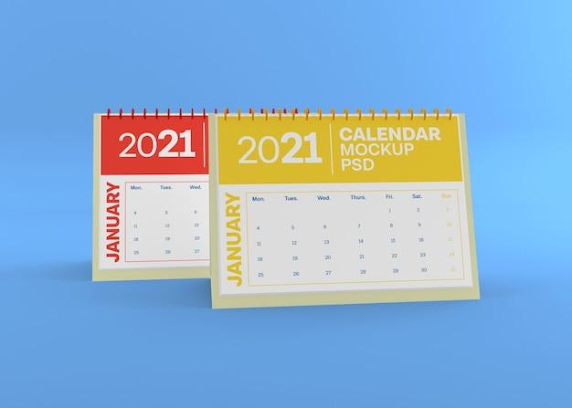 Maquete de calendário horizontal de mesa isolada Psd Premium