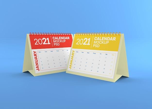 Maquete de calendário horizontal de mesa isolada