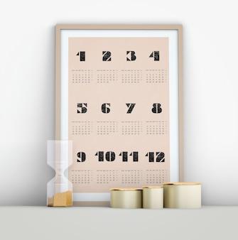 Maquete de calendário minimalista com ampulheta