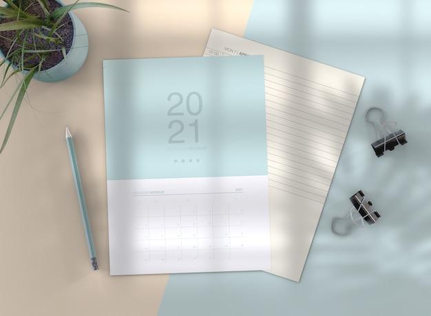 Maquete de calendário minimalista