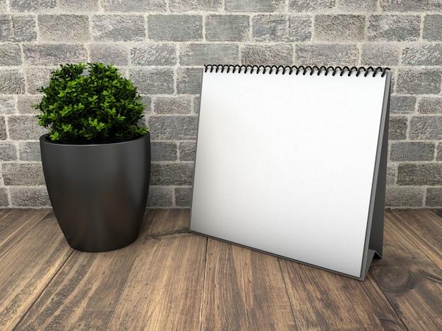 Maquete de calendário quadrado com planta