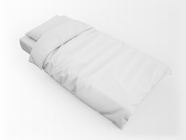 Maquete de cama branca em branco realista