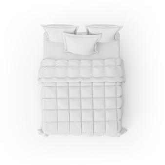 Maquete de cama com edredom branco e almofadas
