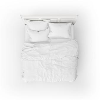 Maquete de cama com encosto de cabeça branco