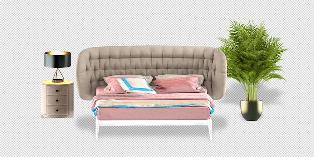 Maquete de cama, mesa, abajur e planta em renderização 3d isolada