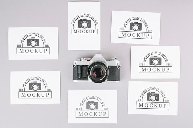 Maquete de câmera fotográfica de vista superior
