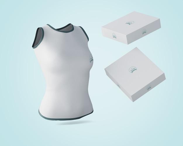 Maquete de camisa com caixas flutuantes