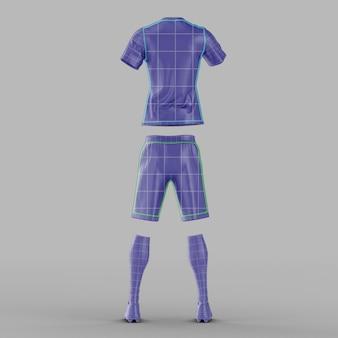 Maquete de camisa de futebol com vista traseira isolada