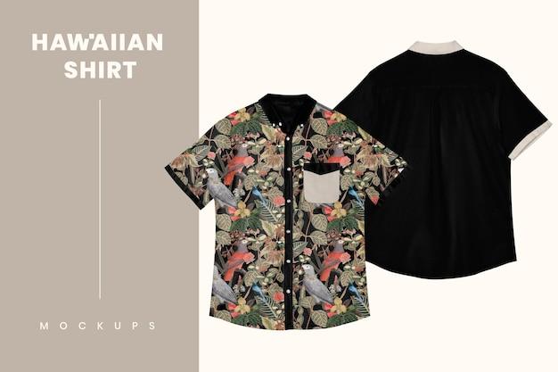 Maquete de camisa havaiana psd roupas masculinas casuais