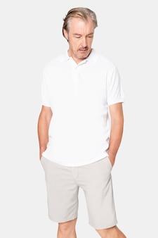 Maquete de camisa pólo branca psd roupas masculinas casuais