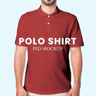 Maquete de camisa polo masculina psd estúdio de moda