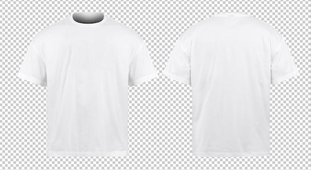 Maquete de camisas de tamanho grande em branco na frente e atrás