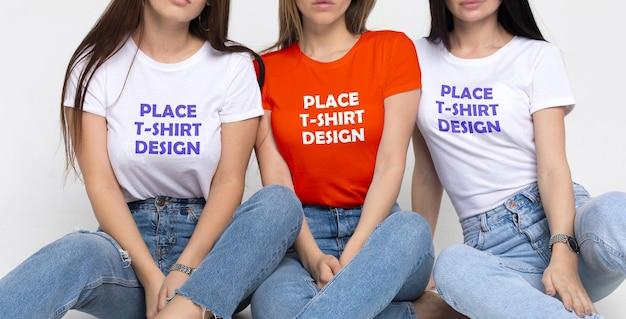 Maquete de camiseta 2 do grupo de amigas