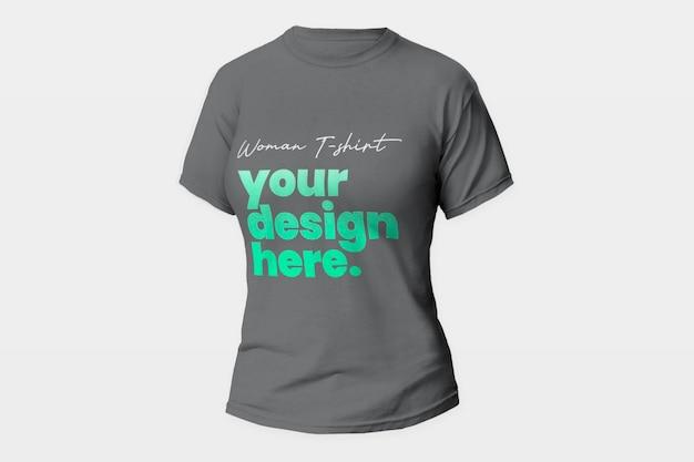 Maquete de camiseta de mulher cinza