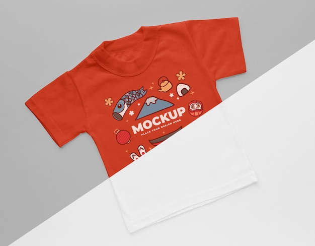 Maquete de camiseta japonesa com vista superior