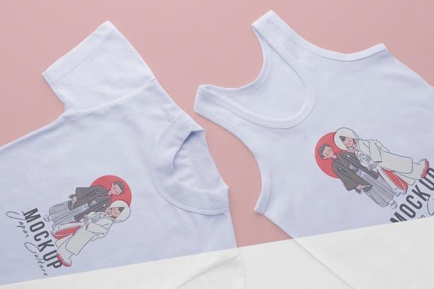 Maquete de camiseta japonesa com vista superior Psd grátis