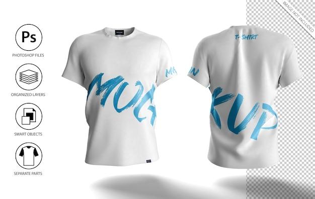 Maquete de camiseta masculina branca vista frontal e traseira