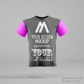 Maquete de camiseta masculina isolada em um fundo de cor suave