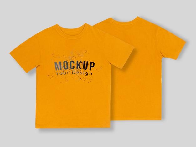 Maquete de camisetas amarelas na frente e atrás