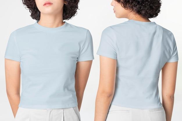 Maquete de camisetas com decote redondo