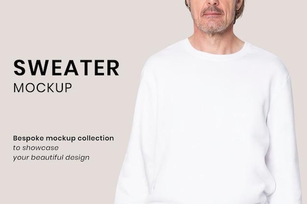Maquete de camisola psd para vestuário de inverno sênior editável