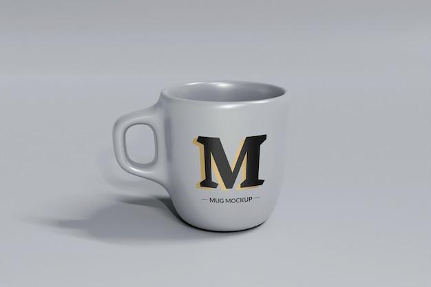 Maquete de caneca de café cinza isolada