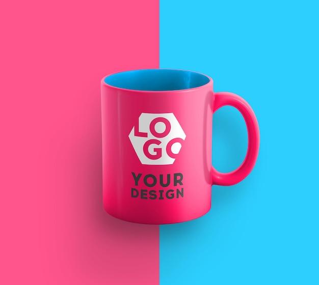Maquete de caneca de café de duas cores